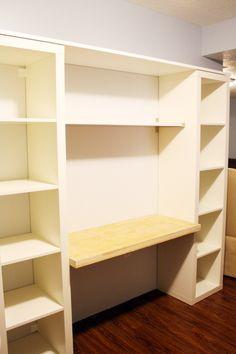 "ikea hack bookshelf/desk- good idea for mounting a ""desk ..."