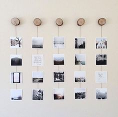 Create a photo wall without picture frames - Ideas and suggestions- Fotowand gestalten ohne Bilderrahmen – Ideen und Anregungen Photo wall without picture frame frame with natural materials - Wood Picture Frames, Picture On Wood, Picture Wall, Wood Photo, Picture Ideas, Picture Design, Photo Frame Ideas, Picture String, Picture Craft