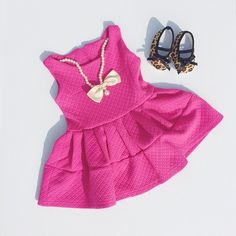 Hot pink and pearls dress