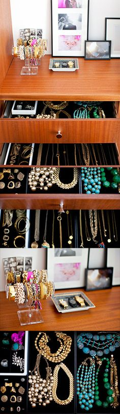 A unique way to store your jewelry: with a jewelry drawer! Love this idea.