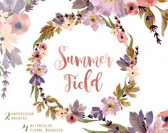 Summer Field Watercolor Bouquets, Wreath hand painted clipart, floral wedding invite, greeting card, diy clip art, flowers