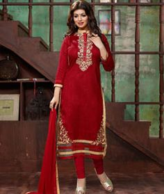 Buy Ayesha Takia Red Bhagalpuri Churidar Suit 73955 online at lowest price from…