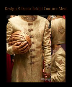 Groom's Wedding Sherwani. Gold Jamawar, with Modern Gold and Copper Stone Work. Summer 2013