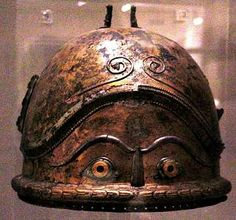 Etruscan Negau helmet with eyes and eyebrows decoration - 6th century B.C.E.