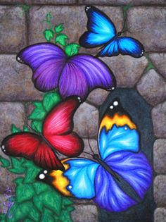 Items similar to ORIGINAL Fantasy Butterfly Wings Ivy Vine Stone Castle Wall Window Acrylic Painting Whimsical Bug Insect Garden Art Natalie VonRaven on Etsy Butterfly Painting, Butterfly Art, Purple Butterfly, Beautiful Butterflies, Painting Inspiration, Painting & Drawing, Wall Drawing, Painted Rocks, Illustrator