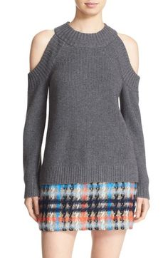 The cold shoulder sweaters are one of my favorite fall looks. I don't especially like the skirt here though