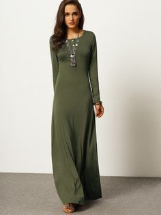 Army Green Long Sleeve Maxi Dress