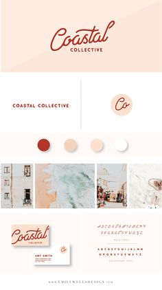 Emily Wells Design | Brand Collection | Build Your Brand Collection Now | Budget-Friendly Premade Logo Designs | Customized Logo Designs For Your Business or Blog | Pink and Red Logo Design | Coastal Collective | Feminine Logo | Build Your Brand