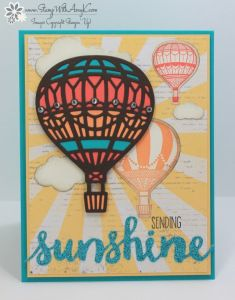 Lift Me Up, Up & Away Thinlits, Cupcakes & Carousels DSP Stack, Sunshine Sayings, Sunshine Wishes Thinlits, 6x6 Glimmer Paper (2017 SAB), Rhinestones - Stamp to Share International Design Team 03/08/2017