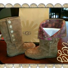 UGG chestnut low pro button boot These boots were made for spring and summer wear. They are lightly lined with sheepskin in the foot area so your foot is cushioned but doesn't get too hot. The ankle area of the shaft of the boot is lined with a jersey fabric. Then the calf area is lined with a beautiful UGG signature logo print fabric. I have always  kept these clean and stored in the original box. There is one small scratch on the heel of 1 boot but it's not noticeable when wearing.   These…