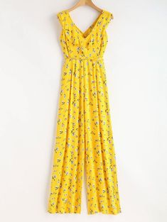 SHARE & Get it FREE | Ruffles Criss Cross Jumpsuit - Yellow SFor Fashion Lovers only:80,000+ Items • New Arrivals Daily Join Zaful: Get YOUR $50 NOW!