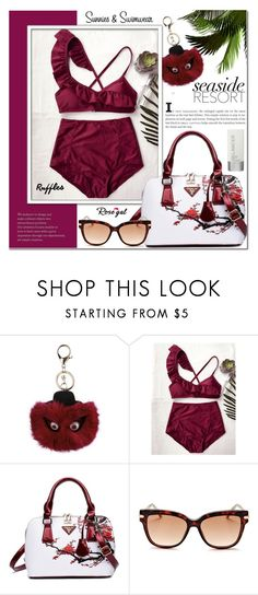 """""""Rosegal 22"""" by cly88 ❤ liked on Polyvore featuring Jimmy Choo, Lancer Dermatology, Flowers, ruffles and ruffledswimwear"""