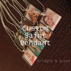 Custom Saint Glass Tile Photo Pendant Necklace. Catholic. Saint. Silver Chain. Religious. Custom.