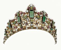 Diadem (Tiara) from Transylvania, 19th century silver gilt with pearls, red color stones and Austrian Habachtal emeralds.