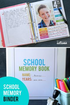 Organize school papers all in one tidy place! Click through for printable year in review divider pages and compile a school memory binder with favorite pictures, artwork, and schoolwork.