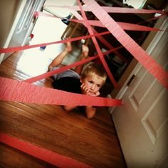 """Laser beam challenge..... It's on! Such a good idea for those """"nothing to do days."""""""