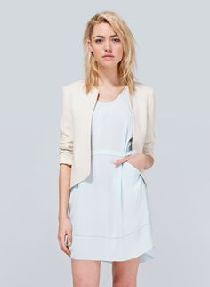 WILFRED EXQUIS JACKET - Designed with minimalist lines, tailored from textured crepe, and finished with a bold polka-dot lining Jacket Over Dress, Pale Blue Dresses, Cream Jacket, Wedding Jacket, Jackets For Women, Clothes For Women, Crepe Fabric, Swagg, Fashion Outfits