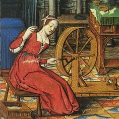 Arachné filant la laine. Vers 1505 enluminure de Jean PICHORE - Musée Dobrée Nantes - FRANCE