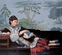 Chen Yifei - Reclining Beauty on a Bench