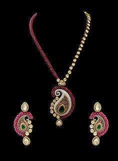 Vilandi pendant set with ruby beads mala in american diamonds