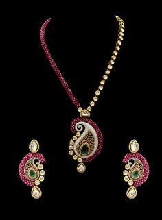 Vilandi pendant set with ruby beads mala in american diamonds