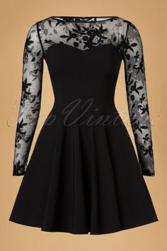 Vintage Chic Black Mesh and Lace Dress 102 10 18556 20160825 0003W