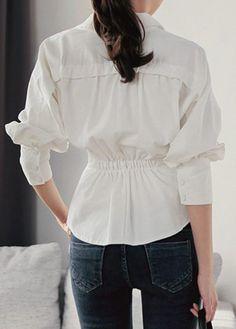 White Long Sleeve Asymmetric Hem Blouse | modlily.com - USD $31.44