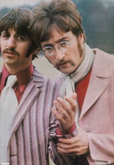 John and Ringo during filming for the Strawberry Fields Forever promo video at Knole Park, Kent. January 1967. Photo by Jane Bown.