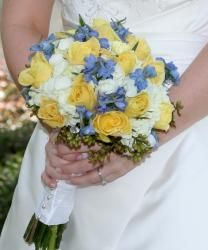 yellow white and blue wedding flower bouquet, bridal bouquet, wedding flowers. Maybe a couple shades darker.