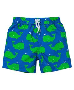 He'll have a whale of a good time in these comfy, quick-dry swim trunks.