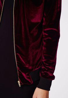 Missguided - Abiline Velvet Bomber Jacket Burgundy
