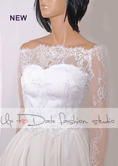 This amazing, gentle and very feminine and can become a special addition to your wedding dress strepless! - It will compliment any strepless dress, cocktail dress or evening gown. This lace bolero Elegance and gentle, done with care to every detail. solstiss lace pattern is incredibly beautiful ..... _This is Chantilly Lace Trim Embroidery Florals Lace Fabric with Scalloped for Weddings!  recommended color- milky white This bolero can be made in any size or measurement specifications, as it…