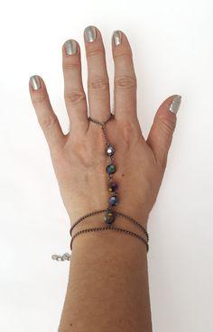 Slave bracelet black bracelet gunmetal by NotYourMomsJewellery Slave Bracelet, Ring Bracelet, Bracelet Making, Black Bracelets, Beaded Bracelets, Boho, Chain, Beads, Rings