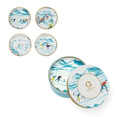 Rank & Style - C. Wonder Snow Day Porcelain Coasters Set and Appetizer Plate Set #rankandstyle