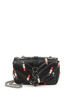 Saint Laurent - Saint Laurent Monogramme Baby Matelasse Lipstick-Print Leather Crossbody Bag