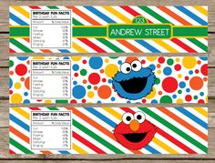 Shop for on Etsy, the place to express your creativity through the buying and selling of handmade and vintage goods. Sesame Street Muppets, Sesame Street Party, Sesame Street Birthday, 23rd Birthday, Birthday Parties, Birthday Ideas, Elmo And Cookie Monster, Printable Water Bottle Labels, Elmo Party
