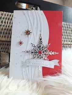 Magical World Scrap: Cards Challenge Day 41 Happy Christmas starlight framelit, swirly framelit, sentiment from seasonal bells