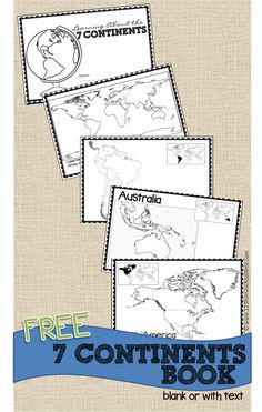 FREE Printable Continents book for kids perfect for geography for homeschool, kindergarten, 1st grade, 2nd grade, 3rd grade, 4th grade, 5th grade - includes both blank maps and labeled maps