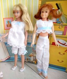 "OOAK Handmade for Vtg. Skipper 9 "" BLYTHE 12"" pajama top and pants set  #SmallFavors"