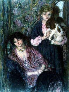 Two Women with a Spaniel Oil Painting, Edmond-Francois Aman-Jean Oil Paintings - NiceArtGallery.com