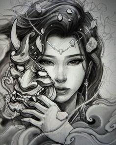 Japanese Geisha Tattoo, Japanese Tattoo Designs, Japanese Sleeve Tattoos, Geisha Tattoo Sleeve, Female Samurai Tattoo, Samurai Warrior Tattoo, Geisha Tattoo Design, Japan Tattoo Design, Geisha Samurai