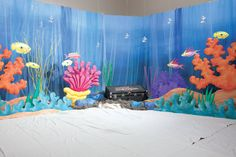 under the sea decor Under The Sea Decorations, Hawaiian Party Decorations, Vbs Themes, Ocean Themes, Beach Themes, Under The Sea Theme, Under The Sea Party, Submerged Vbs, Underwater Theme