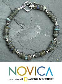 Labradorite beaded bracelet, 'Indian Rainbow' at The Animal Rescue Site