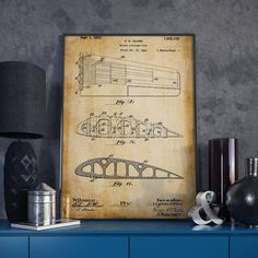 Airplane Wing Patent Poster Aviation Art Military Wall