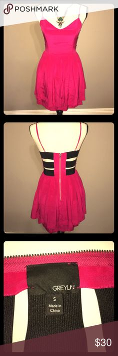 """Greylin Hot Pink Silk Dress Greylin Hot Pink Silk Dress w/elastic cut outs in the back & exposed back zipper.  32"""" long from shoulder to hem, 100% silk, adjustable shoulder straps, & dry clean only.  Great condition!!  Price is firm. Greylin Dresses Mini"""
