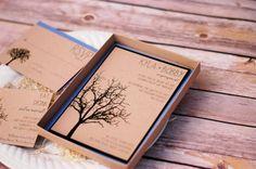 Tree Wedding Invitation - Fall Wedding Invite - Rustic Wedding - Modern Rustic Tree Design - Boxed Invitation - SAMPLE on Etsy, $25.00