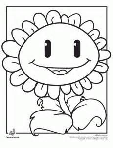 Zombies Coloring Pages Zombie Fighting Sunflower Page