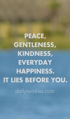 Peace, gentleness, kindness, everyday happiness.It lies before you.