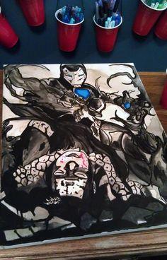 Ironman vs Captain America Coffee painting (2012)