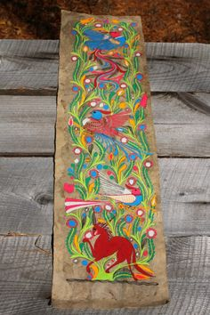 Vintage Mexican Folk Art Amate Bark Painting ~ 3 Birds of Paradise and Horse ~ at 37 inches long, it would make a great door hanging. Mexican Folk Art, Mexican Style, Latino Art, Hawaiian Art, Retro Art, Painting On Wood, French Antiques, Art Lessons, Madness